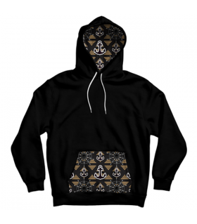 anchor pattern pocket hoodie